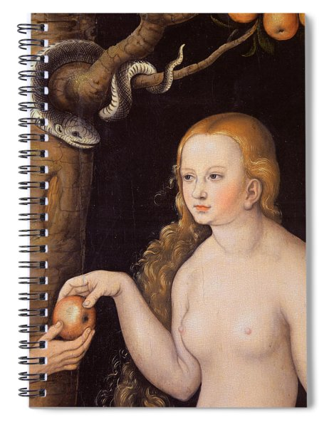 Eve Offering The Apple To Adam In The Garden Of Eden And The Serpent Spiral Notebook