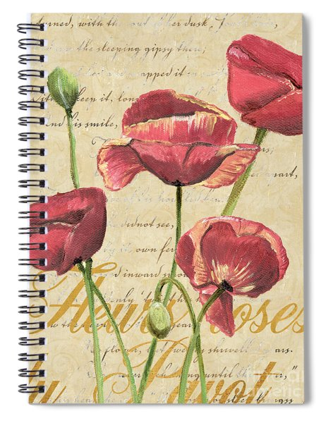 French Pink Poppies 2 Spiral Notebook