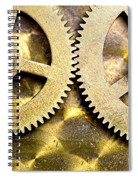 Gears From Inside A Wind-up Clock Spiral Notebook
