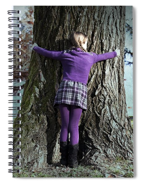 Girl Hugging Tree Trunk Spiral Notebook