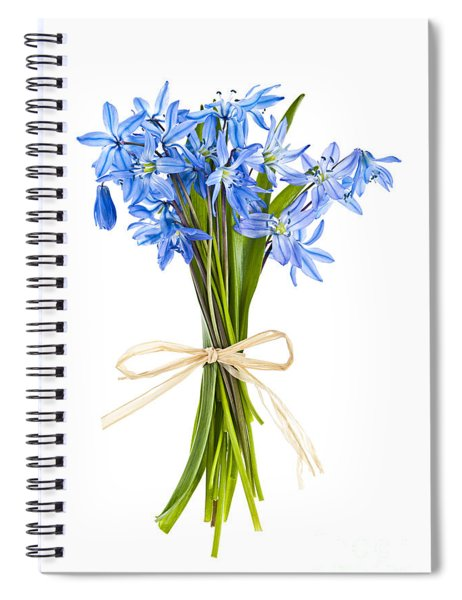 Blue Wildflower Bouquet Spiral Notebook