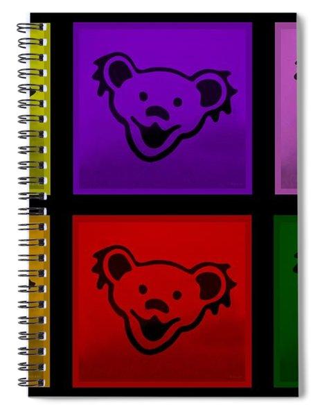 Greatful Dead Dancing Bears In Multi Colors Spiral Notebook
