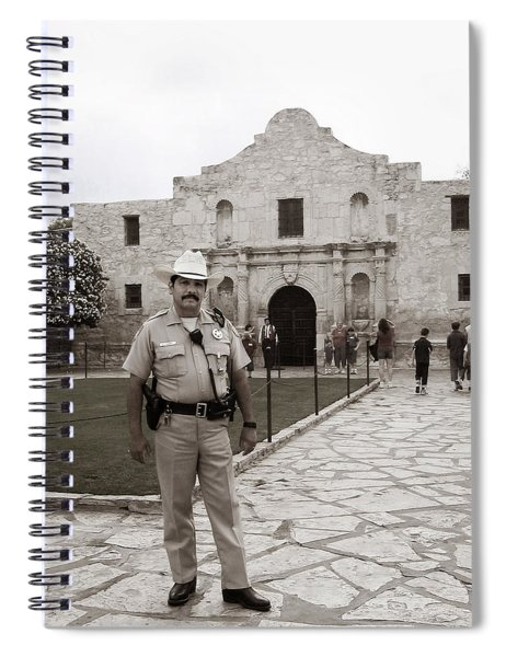 Spiral Notebook featuring the photograph He Guards The Alamo by Lorraine Devon Wilke