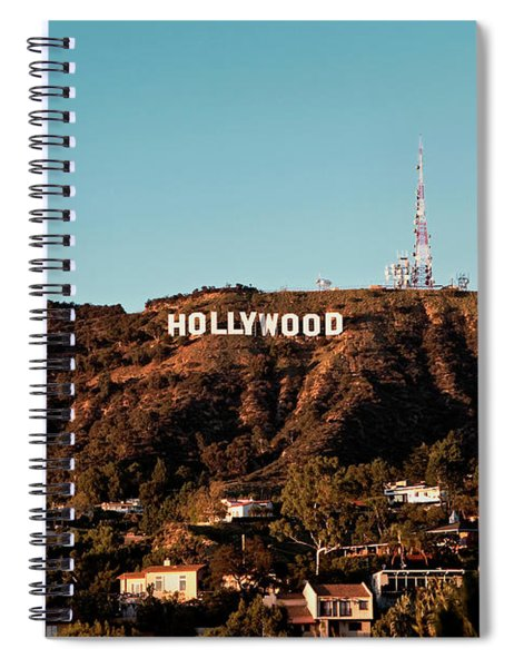 Spiral Notebook featuring the photograph Hollywood Sign At Sunset by Lorraine Devon Wilke