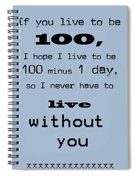 If You Live To Be 100 - Blue Spiral Notebook