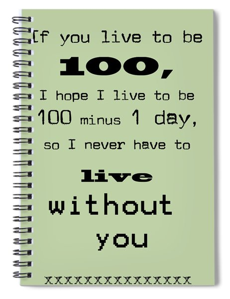 If You Live To Be 100 - Green Spiral Notebook
