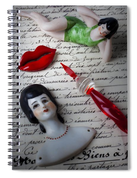 Lips Pen And Old Letter Spiral Notebook
