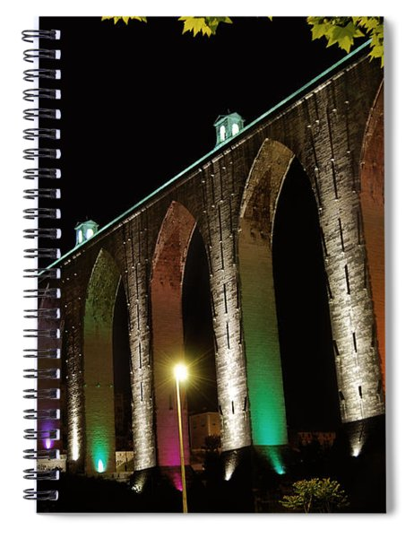 Lisbon Historic Aqueduct By Night Spiral Notebook