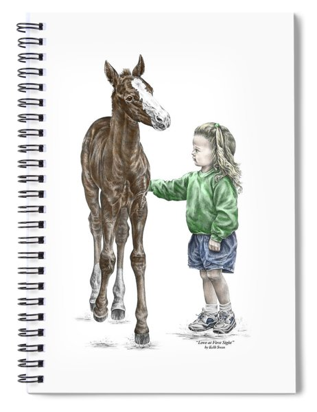 Love At First Sight - Girl And Horse Print Color Tinted Spiral Notebook