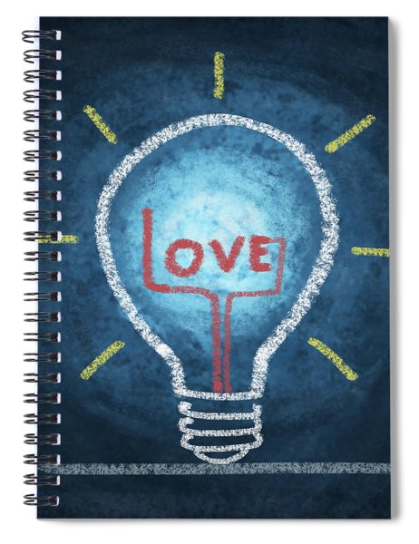 Love Word In Light Bulb Spiral Notebook