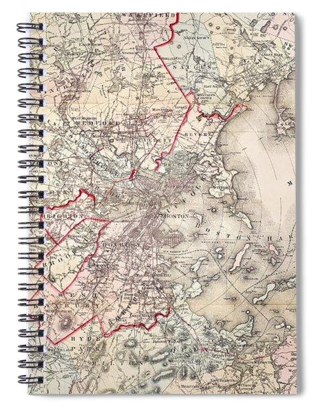 Map: Boston, 1883 Spiral Notebook