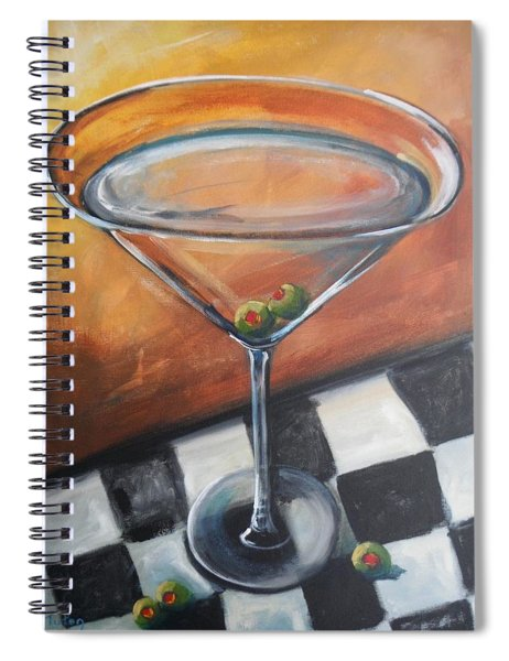 Martini On Checkered Tablecloth Spiral Notebook