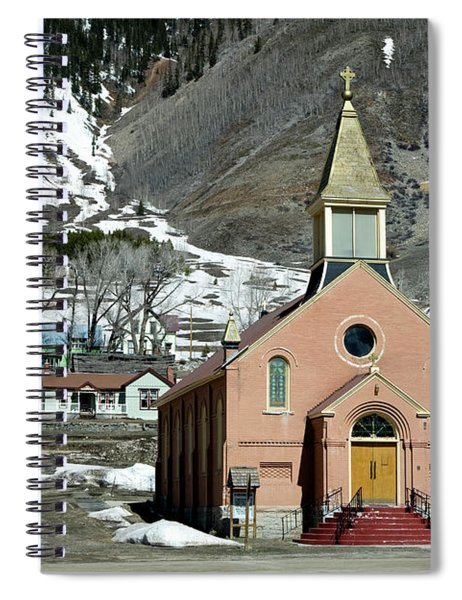 Mountain Chapel With Red Steps Spiral Notebook by Lorraine Devon Wilke
