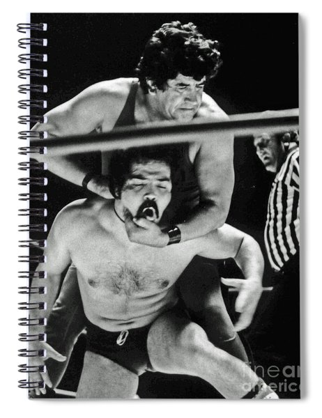 Old School Wrestler Getting A Chiropractic Adjustment In The Ring Spiral Notebook