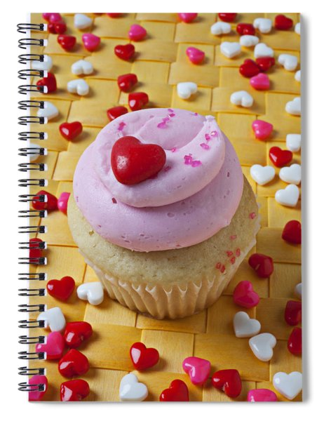 Pink Cupcake With Candy Hearts Spiral Notebook