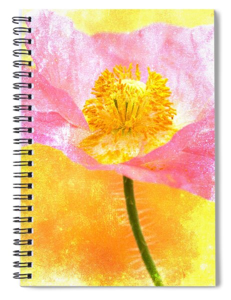 Pink Poppy On Yellow Spiral Notebook