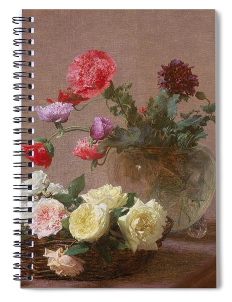 Poppies In A Crystal Vase - Or Basket Of Roses Spiral Notebook