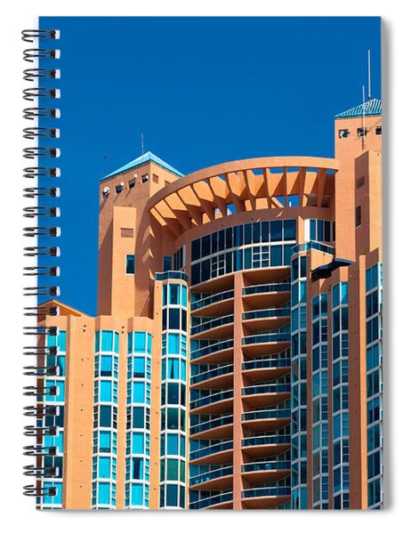 Spiral Notebook featuring the photograph Portofino Tower At Miami Beach by Ed Gleichman