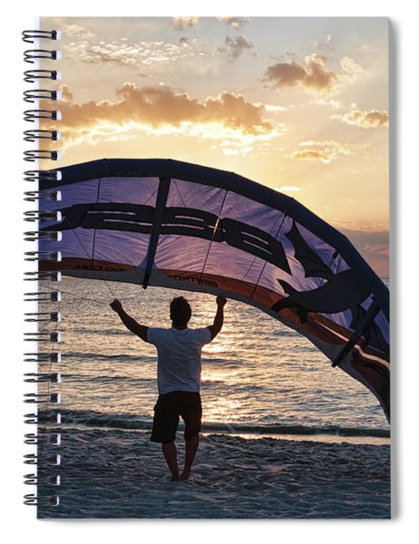 Putting Away The Kite At Clam Pass At Naples Florida Spiral Notebook