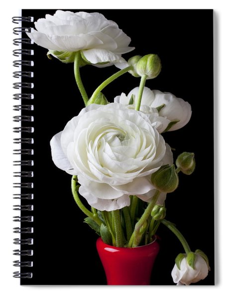 Ranunculus In Red Vase Spiral Notebook