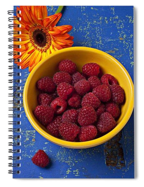 Raspberries In Yellow Bowl Spiral Notebook