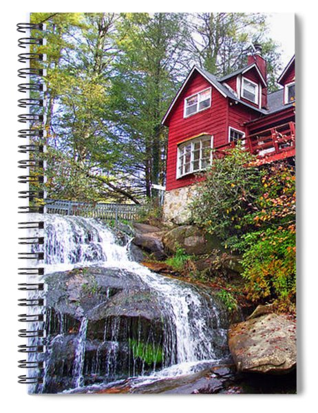 Red House By The Waterfall 2 Spiral Notebook