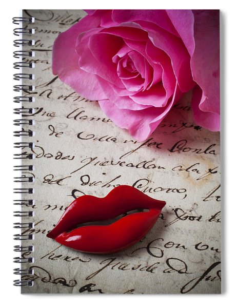 Red Lips On Letter Spiral Notebook