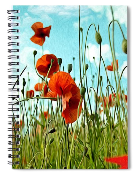 Red Poppy Flowers 03 Spiral Notebook by Nailia Schwarz