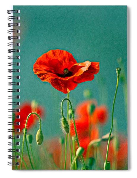 Red Poppy Flowers 06 Spiral Notebook by Nailia Schwarz