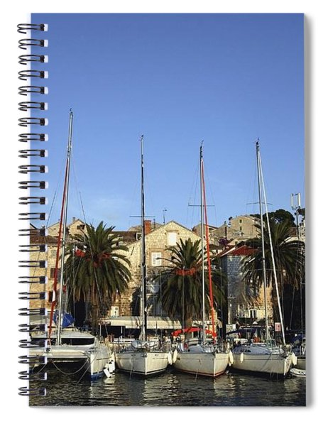 Sailboats Lined Up In Hvar Harbour Spiral Notebook