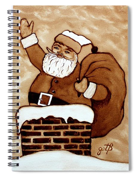 Santa Claus Gifts Original Coffee Painting Spiral Notebook by Georgeta  Blanaru