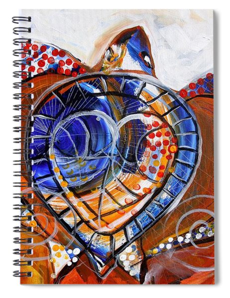 Sea Turtle Love - Orange And White Spiral Notebook