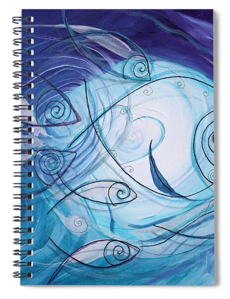 Seven Ichthus And A Heart Spiral Notebook