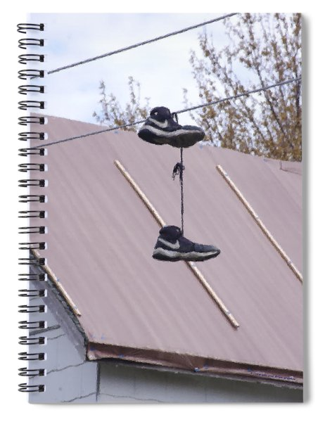 Spiral Notebook featuring the photograph Shoefiti 2067dp by Brian Gryphon