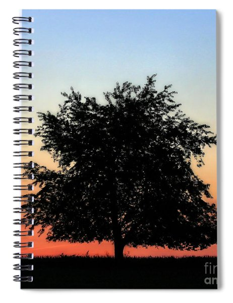 Make People Happy  Square Photograph Of Tree Silhouette Against A Colorful Summer Sky Spiral Notebook