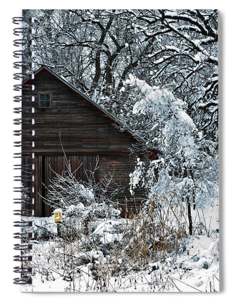 Snow Covered Barn Spiral Notebook