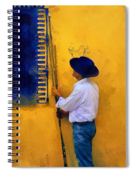 Spanish Man At The Yellow Wall. Impressionism Spiral Notebook