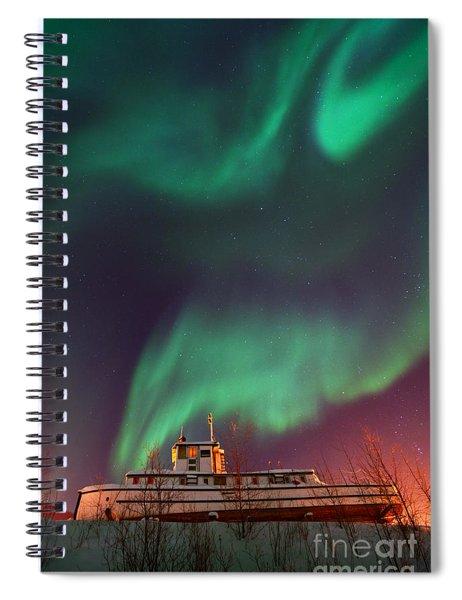 Steamboat Under Northern Lights Spiral Notebook by Priska Wettstein
