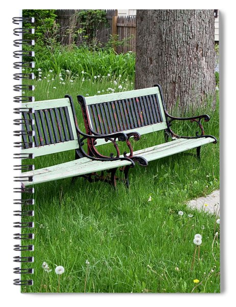 Summer Bench And Dandelions Spiral Notebook by Lorraine Devon Wilke