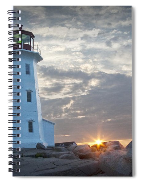 Sunrise At Peggys Cove Lighthouse In Nova Scotia Number 041 Spiral Notebook