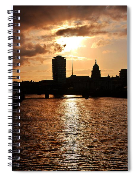 Spiral Notebook featuring the photograph Sunset On The Liffey River by Edward Peterson