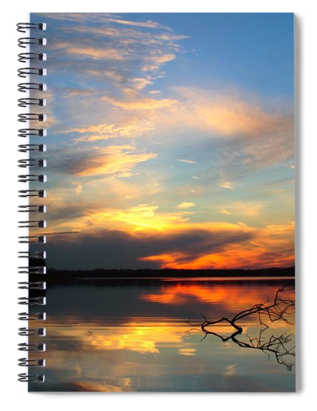 Sunset Over Calm Lake Spiral Notebook