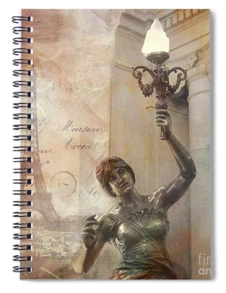 Paris Eiffel Tower Surreal Art Deco With Female Statue Street Lantern Montage  Spiral Notebook
