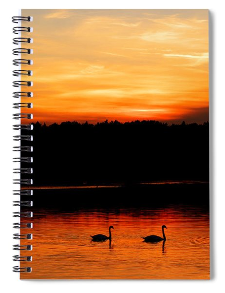 Swans In The Sunset Spiral Notebook