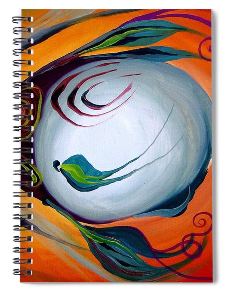 Teal Fish With Orange Spiral Notebook