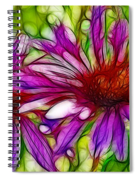 Two Purple Daisy's Fractal Spiral Notebook