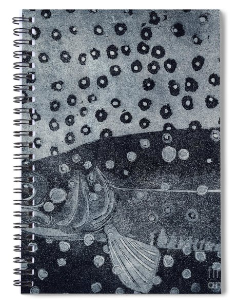 Unique Etching Artwork - Brown Trout  - Trout Waters - Trout Brook - Engraving Spiral Notebook