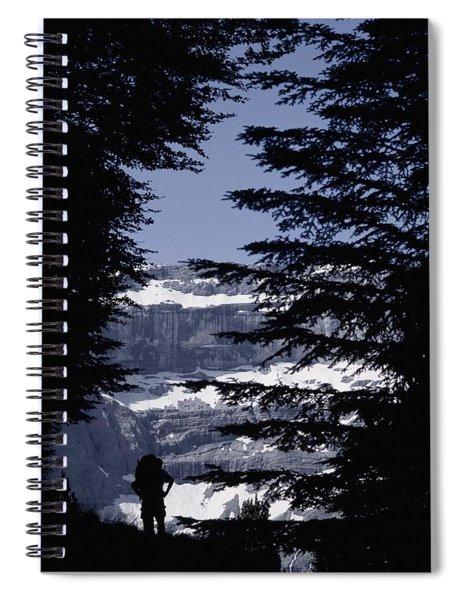 Walker Climbing Up Hill Between Trees Spiral Notebook