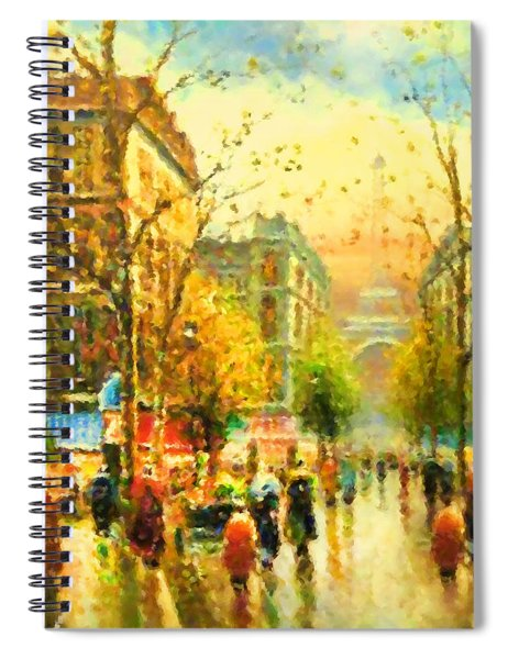 Walking In The Rain Spiral Notebook