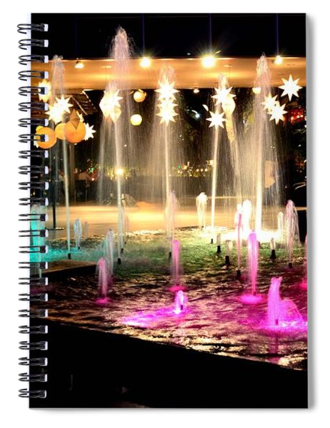 Water Fountain With Stars And Blue Green With Pink Lights Spiral Notebook